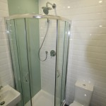 Shower with glass wall